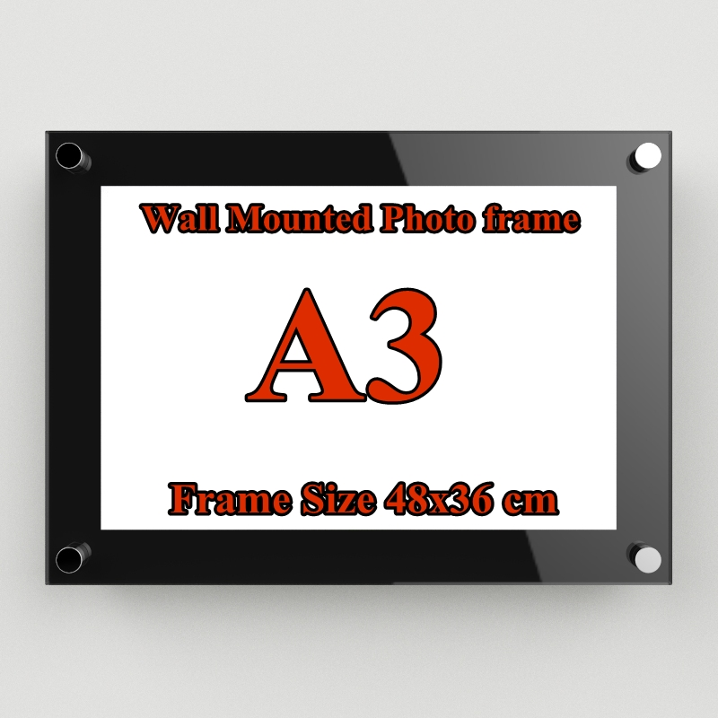 A3(48x36) กรอบอะครีลิค ติดผนัง สีดำ ( A3 Glossy Black Acrylic Wall Mount Photo Frame)