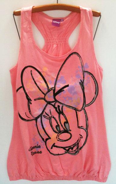 Disney (เด็กโต)----งานแท้ เสื้อกล้ามสีโอรส ลายมินนี่ เมาส์ (Minnie Mouse) เต็มตัว หล้งว้าว เอวยืดจั๊มนิดๆ ผ้านิ่ม ใส่สบายเหมาะกับอากาศบ้านเราค่ะ size 164