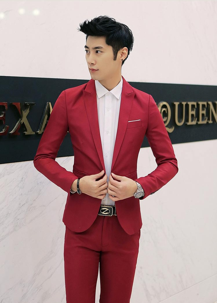 สูท,ชุดสูทชาย แฟชั่น ผ้าโพลีเอสเตอร์ กางเกงขากระบอกเล็ก สีแดง XL *สูท+กางเกง*