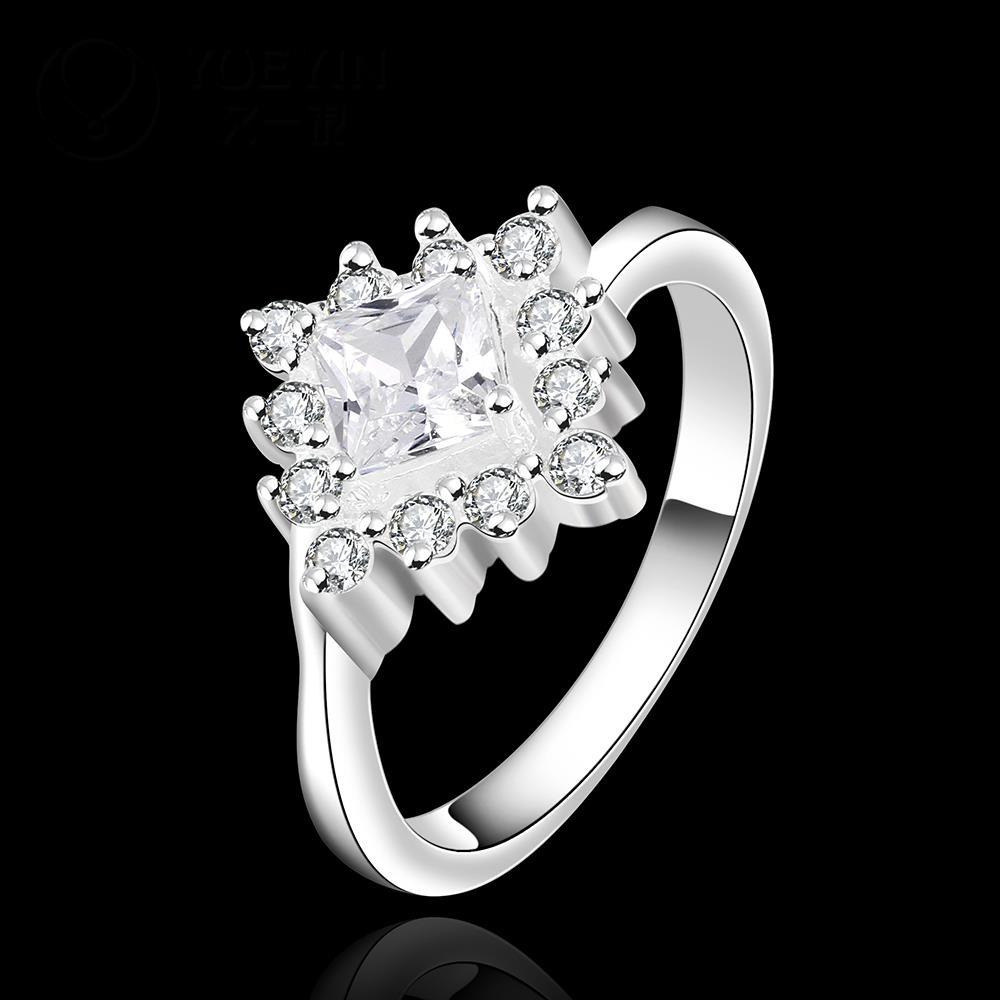 R879 แหวนเพชรCZ ตัวเรือนเคลือบเงิน 925 หัวแหวนรูปดอกไม้แต่งเพชร ขนาดแหวนเบอร์ 7