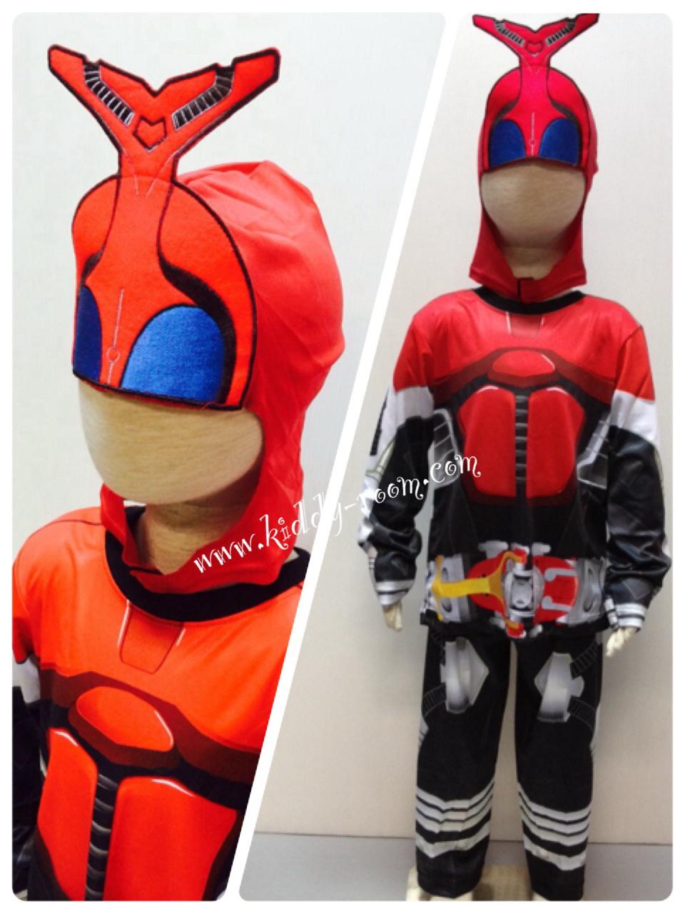 Masked Rider Kabuto (งานลิขสิทธิ์) ชุดแฟนซีเด็กมาค์ส ไรเดอร คาบูโตะ 3 ชิ้น เสื้อ กางเกง & หน้ากาก ให้คุณหนูๆ ได้ใส่ตามจิตนาการ ผ้ามัน Polyester ใส่สบายค่ะ หรือจะใส่เป็นชุดนอนก็ได้ค่ะ size S, M, L, XL