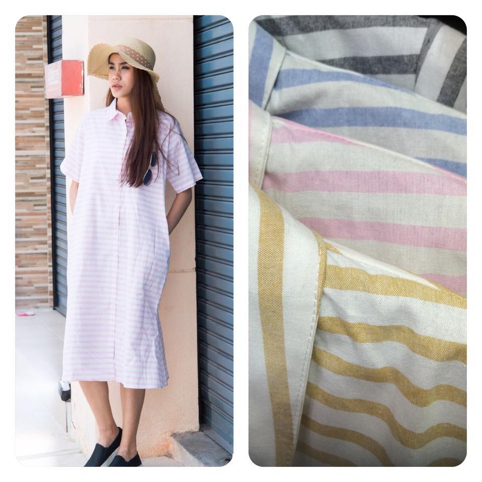Short sleeve striped dress เหลือสีเหลืองสีเดียวค่ะ