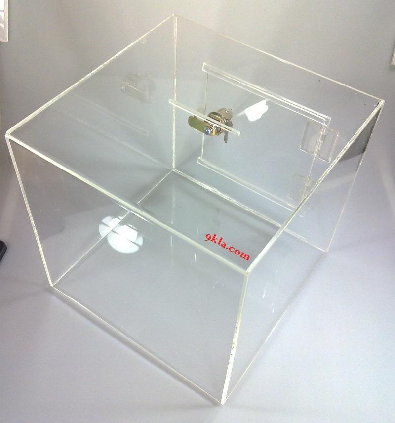 25cm.(10นิ้ว) กล่องรับบริจาค ใส กล่องรับความคิดเห็น กล่องรับทิป [Tip Box | Donate Box | Suggestion Box]