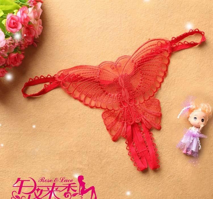Butterfly Sexy G-string กางเกงในเปิดเป้า จีสตริงเปิดเป้าลายผีเสื้อสีแดง สุดเซ็กซี่