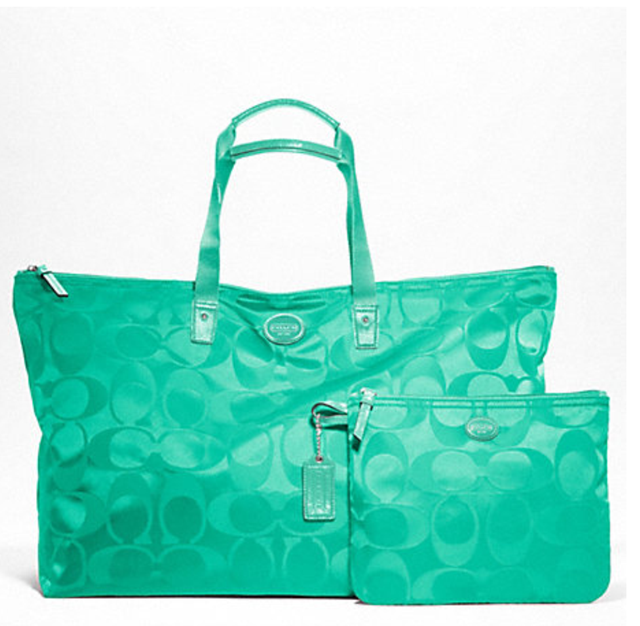 Coach 77316 Signature Nylon Large Packable Weekender Tote Bag / Silver :Aqua