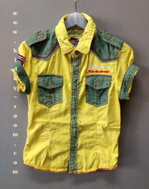 เสื้อเชิ้ตแขนสั้นสีเหลือง แต่งผ้าสีเขียวตรงกระเป๋า บ่า และแขน แนวเกาหลี เข้ารูปนิดๆ จะพับแขนหรือปล่อยก็เท่ห์ที่ซู๊ด ^^ size 4-14 ( 4-12 ปี)