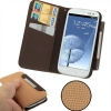 Case เคส Left and Right Open Moire Samsung Galaxy S 3 III (i9300)(Khaki + Coffee)