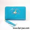 กระเป๋าสตางค์ใบกลาง ลายผู้หญิง สีฟ้าน้ำทะเล