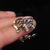 3D Pug Dog Open Ring แหวนรูปน้องหมาปั๊ก 3 มิติ สีบรอนซ์ทอง รอบแหวนแบบเปิด