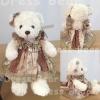 ตุ๊กตาหมีเสื้อกระโปรงลายวินเทจชายดอก teddybear vintage brown dress ขนาด 35 cm