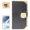 Lizard Texture Diamond Encrusted Button for Samsung Galaxy Note II / N7100 (Black)