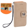 Case เคส Litchi Texture Button Flip Holster for iPhone 5 (Beige)