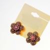 Sweet Crystal Flower Earing ต่างหูดอกไม้แต่งคริสตัลชมพูแสนหวาน