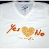 เสื้อยืด Yes Or No 2 รูปหัวใจ สีขาวไซส์ M