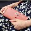 กระเป๋าสตางค์ใบยาว ประดับเข็มกลัดตัว H สี Pink หนัง PU นิ่ม