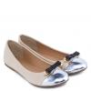 ไซส์ 37 รองเท้าบัลเล่ต์สีเบจแต่งโบว์สุดคลาสสิค Classic Beige Double Metal Bow Ballet Shoes