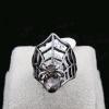 Black Gun Spider Ring แหวนแฟชั่นโลหะสีรมดำรูปแมงมุมแต่งคริสตัล
