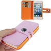 Case เคส Square Pattern Button Flip Holster iPhone 5 (Pink)