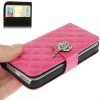 Case เคส Plaid Diamond Flower Button Flip iPhone 5(Magenta)