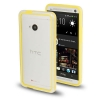 Case เคส TPU + Transparent Plastic Bumper Frame HTC One M7 (Yellow)
