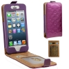 Case เคส Luxury Series Flower Pattern Vertical Style Genuine Leather Case iPhone 5 (Purple)