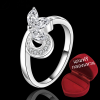 ฟรีกล่องแหวน R901 แแหวนเพชรCZ ตัวเรือนเคลือบเงิน 925 หัวแหวนผีเสื้อ ขนาดแหวนเบอร์ 7
