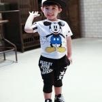 ชุดเด็ก เสื้อสีขาวลายมิกกี้เมาส์กางเกงสีดำ ขนาด 100-140