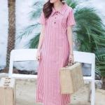 Linen Polo Maxi Dress สีแดง