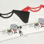 เสื้อเด็กแขนสั้น ลายมิกกี้เมาส์ สีขาวแขนดำ มีขนาด 90-130