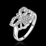 R882 แแหวนเพชรCZ ตัวเรือนเคลือบเงิน 925 หัวแหวนรูปนางฟ้า ขนาดแหวนเบอร์ 8