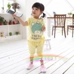 ชุดเด็กผู้หญิง เสื้อสีเหลืองลายหมีกับกางเกงสีเหลือง น่ารักสไตล์เกาหลี