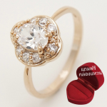 ฟรีกล่องแหวน แหวนเคลือบทองคำ 14K หัวแหวนดอกไม้ White Sapphire, Oval Cut, Flower Style ขนาดแหวนเบอร์ 7.5