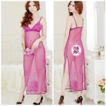 2in1 Sexy Dress ชุดนอนเซ็กซี่ซีทรูสีม่วงกระโปรงยาวผ่าข้างสูง+จีสตริง 8297