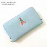 กระเป๋าสตางค์ใบกลางสีฟ้า แบบซิปรอบสีทอง ประดับอะไหล่หอไอเฟล