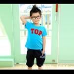 ชุดเด็ก เสื้อสีฟ้ากางเกงสีดำ มีขนาด 100-140