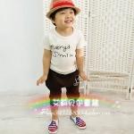 ชุดเด็กผู้ชาย เสื้อสีขาวกับกางเกงสีน้ำตาล น่ารักสไตล์เกาหลี
