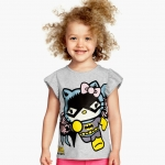 H&M เสื้อยืดสีเทา Bat Girl Hello Kitty แขนระบาย ผ้ายืดนิ่มๆ ใส่สบายค่ะ คอนเฟิร์ม size 4-6
