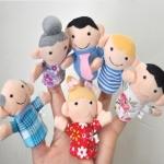 TO-002 (พร้อมส่ง) ตุ๊กตานิ้วมือ ผ้ากำมะหยี่ ชุดครอบครัว หนึ่งแพ็คมี 6 ตัว