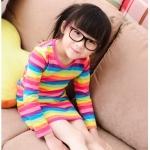ชุดเดรส แขนยาว ลายทาง สีสันสดใส สไตล์เกาหลี