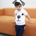 ชุดเด็ก เสื้อสีขาวกรมมีฮูด กางเกงสีกรม น่ารักสไตล์เกาหลี