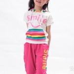 ชุดเด็กลายทาง มีฮูด เสื้อสีขาวกางเกงสีชมพู สไตล์เกาหลี