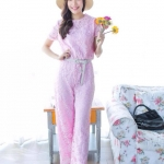 Elegant Lace Jumpsuit ชมพู