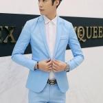 สูท,ชุดสูทชาย แฟชั่น ผ้าโพลีเอสเตอร์ กางเกงขากระบอกเล็ก สีฟ้า 2XL *สูท+กางเกง*