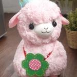 ตุ๊กตาอัลปาก้า Alpaca สีชมพู ลูกเจี๊ยบเกาะหัว ขนาดสูง 14 นิ้ว