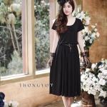 Black Midi Dress Short Sleeves มีดี้เดรสสีดำ
