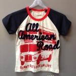 เสื้อยืดคอกลม ลายรถบัส All American Road แขนน้ำเงิน ใส่กับยีนส์ เท่ห์ดีค่ะ size 90-130