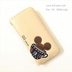 กระเป๋าสตางค์ใบยาว QQ Mouse สีครีม-น้ำตาล แบบซิปรอบสีทอง