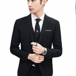 สูท,สูทแฟชั่น+เสื้อกั๊ก ครบเซต สีดำ คลิกเพื่อดู Size