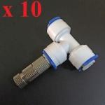 หัวพ่นหมอกละเอียด 0.3 mm + ข้อต่อ 3 ทาง 10 หัว