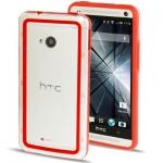 Case เคส TPU + Transparent Plastic Bumper Frame HTC One M7 (Red)